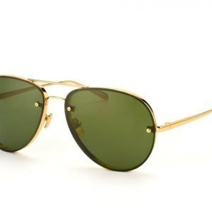 Linda Farrow LF 307 5 Yellow Gold Solid Green Lens aurinkolasit