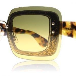 Miu Miu 01RS PC80A3 Kilpikonna-kulta glitter Aurinkolasit