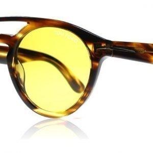 Tom Ford Clint 0537 48E Kiiltävä ruskea raidallinen Aurinkolasit
